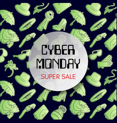 cyber monday square banner fluorescent fashion vector image