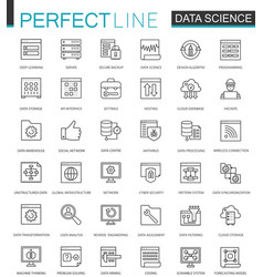 Data science thin line web icons set data vector