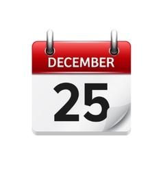 December 25 flat daily calendar icon vector