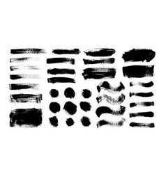 dry brush strokes set hand drawn smears vector image