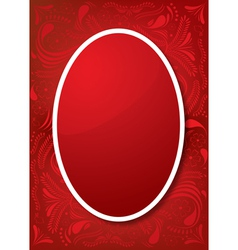 Easter Greeting Card with red egg and ornament vector image