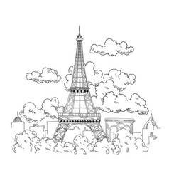 eiffel tower drawn pen beautiful banner with vector image