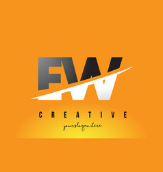 ew e w letter modern logo design with yellow vector image