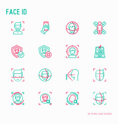 Face id thin line icons set vector