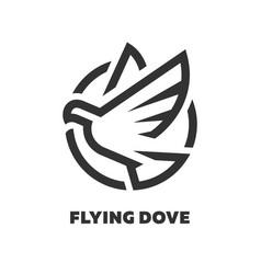 Flying dove linear logo symbol vector