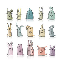 Funny rabbits collection for your design vector