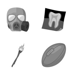 Gas mask x-ray and other monochrome icon in vector