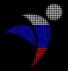 Halftone russian winged man icon vector
