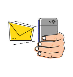 Hand using smartphone with envelope email vector