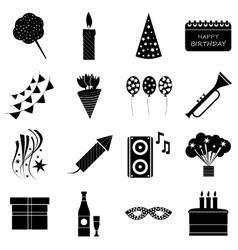 Happy birthday icons set simple style vector