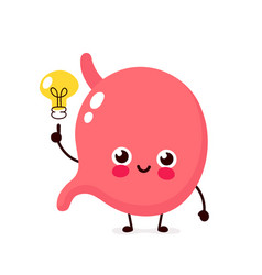 Happy cute stomach with lightbulb vector