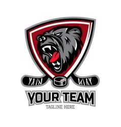 Hockey team mascot logo with bear head mascot vector