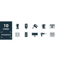 household icon set include creative elements home vector image