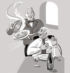 In a restaurant vector