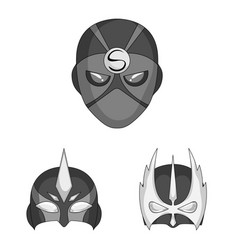 Isolated object of hero and mask sign set of hero vector