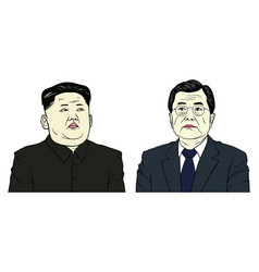 Kim jong-un and moon jae-in portrait flat design vector