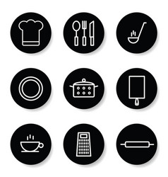 kitchen icon in white color set vector image