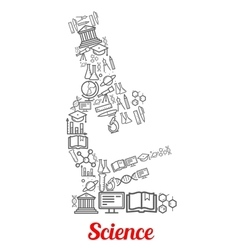 Microscope emblem shaped by science icons vector image