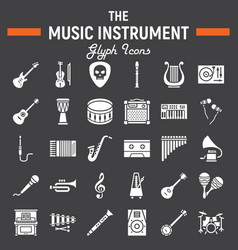 music instruments glyph icon set audio symbols vector image