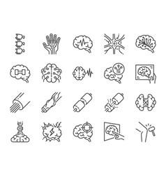 Neurology line icon set vector