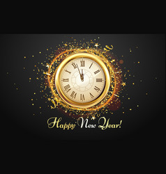 New year countdown watch holiday antique clock vector