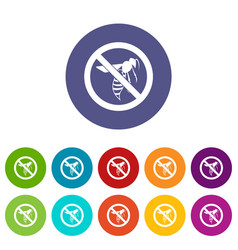 no wasp sign set icons vector image