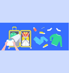 Packing clothes in a suitcase for travel vector