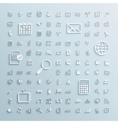 paper icons set finance events office internet vector image