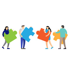 people connecting puzzle elements vector image
