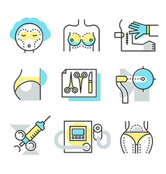 Plastic surgery icons vector