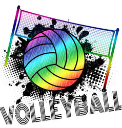 Poster or banner with a volleyball ball and vector
