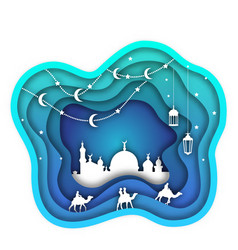 Ramadan kareem background mosque lanterns moon vector