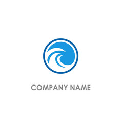round wave water beach logo vector image