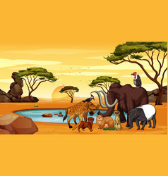 Scene with many animals at savanna vector