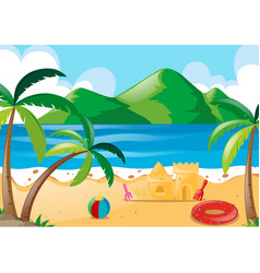 Scene with toys on the beach vector
