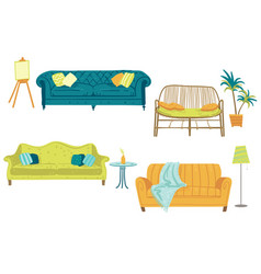 set four sofas and home decor elements vector image