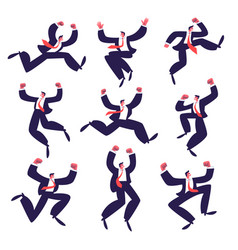 Set happy businessmen jumping a group of vector