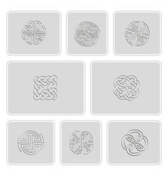 Set of monochrome icons with irish geometric ornam vector image