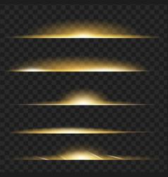 set of yellow glowing light effect isolated on vector image