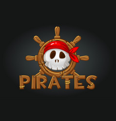 skull a pirate at helm vector image