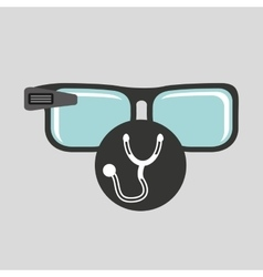 Smart glasses connected doctor stethoscope vector