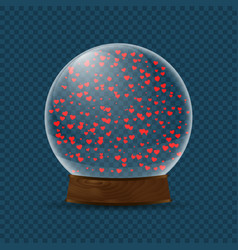 Snow globe with falling hearts vector