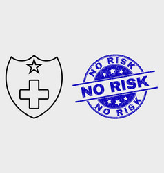 Stroke medical shield icon and grunge no vector
