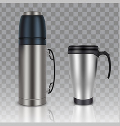 Thermos thermo cup realistic mockup set vector