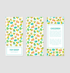 Toy shop banner templates with cute batoys vector