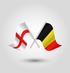 Two crossed english and belgian flags vector