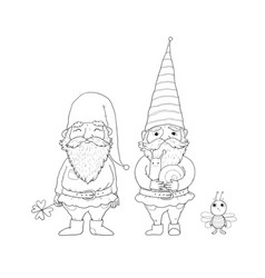 Two old garden gnomes and a bee forest elves vector