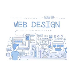 Web design internet development concept hand vector