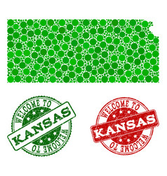 Welcome composition of map of kansas state and vector