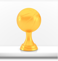 winner basketball cup award golden trophy logo vector image